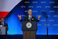 March 4, 2013  (Washington, DC)  U.S. Vice President Joe Biden addresses the 2013 AIPAC Policy Conference.  (Photo by Don Baxter/Media Images International)