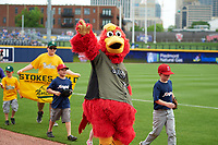 The Nashville Sounds mascot Booster The Rooster before a game against the New Orleans Baby Cakes on April 30, 2017 at First Tennessee Park in Nashville, Tennessee.  The game was postponed due to inclement weather in the fourth inning.  (Mike Janes/Four Seam Images)