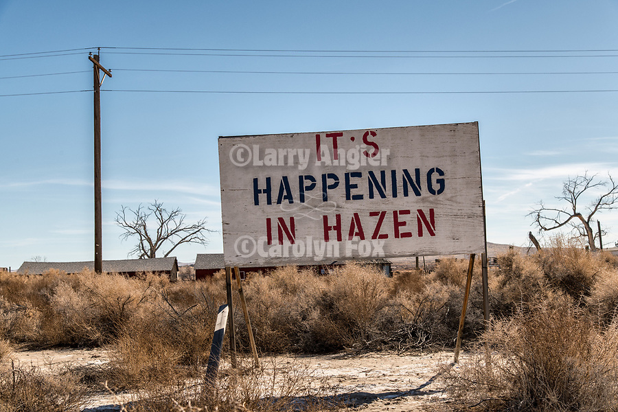 It's Happening in Hazen sign, town of Hazen in the Lahoten Valley along the old Lincoln Highway, Nevada