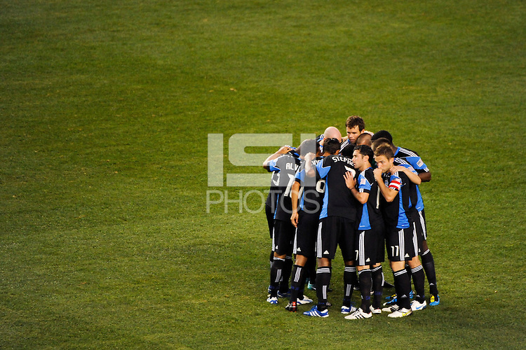 San Jose Earthquakes players huddle before the start of the match. The New York Red Bulls defeated the San Jose Earthquakes 2-0 during a Major League Soccer (MLS) match at Red Bull Arena in Harrison, NJ, on August 28, 2010.
