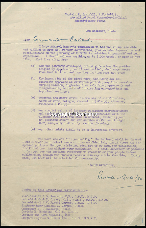 BNPS.co.uk (01202 558833)<br /> Pic: Bonhams/BNPS<br /> <br /> A letter to Commander Harland from Captain Grenfell asking for written recollections of the planning of operation Neptune.<br /> <br /> Top secret orders for the Allied invasion of Europe that should have been burned after reading have emerged for sale 72 years later.<br /> <br /> The rarely-seen documents include codenames, folding charts and instructions for the assault forces before and after the Normandy landings on June 6, 1944 - D-Day.<br /> <br /> The papers relate to Operation Neptune, the naval stage of the invasion that involved 6,000 ships laden with troops and armour crossing the English Channel in the hours before the landings.<br /> <br /> They are being sold by Bonhams on June 15 and expected to fetch £5,000.