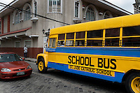 Philippines, Manila, 5 march, 2008..Old fashioned schoolbus in Intramuros the oldest district of the city of Manila...Ouderwetse schoolbus in Intramuros, het oudste district van Manila, de hoofdstad van de Filippijnen...Photo Kees Metselaar