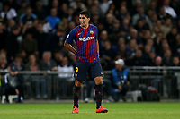 Luis Suarez of FC Barcelona winces in agony during Tottenham Hotspur vs FC Barcelona, UEFA Champions League Football at Wembley Stadium on 3rd October 2018