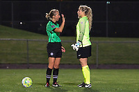 Piscataway, NJ, May 7, 2016. Referee Ekaterina Koroleva speaks with Sky Blue goalkeeper Caroline Stanley (18) prior to a penalty kick. The Western New York Flash defeated Sky Blue FC, 2-1, in a National Women's Soccer League (NWSL) match at Yurcak Field.