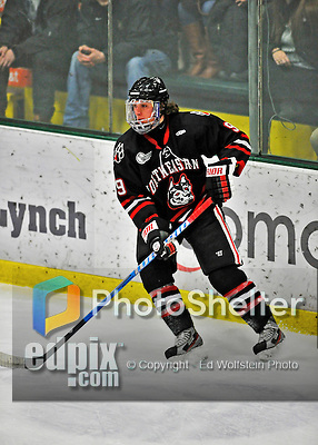 28 January 2012: Northeastern University Huskies' forward Garrett Vermeersch, a Junior from Macomb, MI, in action against the University of Vermont Catamounts at Gutterson Fieldhouse in Burlington, Vermont. The Huskies defeated the Catamounts 4-2 in the second game of their 2-game Hockey East weekend series. Mandatory Credit: Ed Wolfstein Photo