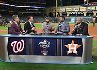 HOUSTON - OCTOBER 30: Kevin Burkhardt, Alex Rodriguez, David Ortiz, and Frank Thomas with Howie Kendrick following World Series Game 7: Washington Nationals at Houston Astros on Fox Sports at Minute Maid Park on October 30, 2019 in Houston, Texas. (Photo by Frank Micelotta/Fox Sports/PictureGroup)