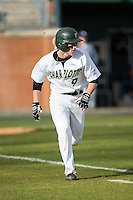 Brett Netzer (9) of the Charlotte 49ers hustles down the first base line against the Florida Atlantic Owls at Hayes Stadium on March 14, 2015 in Charlotte, North Carolina.  The Owls defeated the 49ers 8-3 in game one of a double header.  (Brian Westerholt/Four Seam Images)