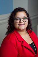 Environmental headshots are taken of Angel Alvarado of Resident Graduate Admissions in the Grand Lobby of Demoss Hall on September 6, 2017. (Photo by Caroline Cummings)