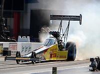Sep 16, 2016; Concord, NC, USA; NHRA top fuel driver Shawn Langdon during qualifying for the Carolina Nationals at zMax Dragway. Mandatory Credit: Mark J. Rebilas-USA TODAY Sports