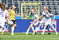 20190810 - ANDERLECHT, BELGIUM : Anderlecht's players pictured celebrating the goal of Laura Rus (left) during the female soccer game between the Belgian RSCA Ladies – Royal Sporting Club Anderlecht Dames  and the Norwegian LSK Kvinner Fotballklubb ladies , the second game for both teams in the Uefa Womens Champions League Qualifying round in group 8 , saturday 10 th August 2019 at the Lotto Park Stadium in Anderlecht  , Belgium  .  PHOTO SPORTPIX.BE for NTB NO | DAVID CATRY