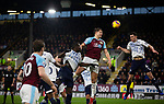 Home team defender James Tarkowski competes for a header with the visitor's Michael Keane as Burnley (in claret) hosted Everton in an English Premier League fixture at Turf Moor. Founded in 1882, Burnley played their first match at the ground on 17 February 1883 and it has been their home ever since. The visitors won the match 5-1, watched by a crowd of 21,484.