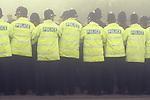 Miners strike police cordon Shirebrook  Derbyshire UK 1984