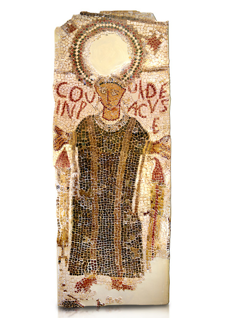 """5th century Eastern Roman Byzantine   funerary mosaic from Tarbaka in the Roman province of Africa Proconsularis , present day Tunisia, with a crown at the top probably a Christogram  (Latin Monogramma Christi ) is a monogram used as an abbreviation for the name of Jesus Christ, with a figure below and a latin text for the deceased """" Covuldeus in peace"""". Either side of the figure are a lit candle which symbolises eternal faith. The Bardo National Museum, Tunis Tunisia.  Against a white background.<br /> <br /> Christian burial grounds The ingenuity and expertise of mosaic schools, particularly those operating in Proconsular Africa and By-zacena, led to the dissemination of a mosaic trend which was very well tailored to the needs of a Christian clientele, who was authorised by the Church to use the basilica area and its ancillaries for burial, particularly in the sacred spaces such as the baptistery and the choir."""