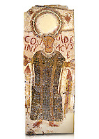 "5th century Eastern Roman Byzantine   funerary mosaic from Tarbaka in the Roman province of Africa Proconsularis , present day Tunisia, with a crown at the top probably a Christogram  (Latin Monogramma Christi ) is a monogram used as an abbreviation for the name of Jesus Christ, with a figure below and a latin text for the deceased "" Covuldeus in peace"". Either side of the figure are a lit candle which symbolises eternal faith. The Bardo National Museum, Tunis Tunisia.  Against a white background.<br />
