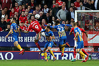 Josh Magennis of Charlton heads the ball just over the Shrewsbury Town goal during Charlton Athletic vs Shrewsbury Town, Sky Bet EFL League 1 Play-Off Football at The Valley on 10th May 2018