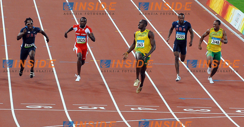 Usain Bolt wins (3rd R) Men's 100m race with new world record 9.69.<br /> Form L To R, Walter Dix Usa, Bronze Medal, Richard Thompson Trinidad Silver Medal, Darvis Patton Usa, Michael Frater Jamaica<br /> Usain Bolt vince i 100 metri con il nuovo record del mondo<br /> National Stadium - Bird Nest<br /> Pechino - Beijing 16/8/2008 Olimpiadi 2008 Olympic Games<br /> Foto Andrea Staccioli Insidefoto