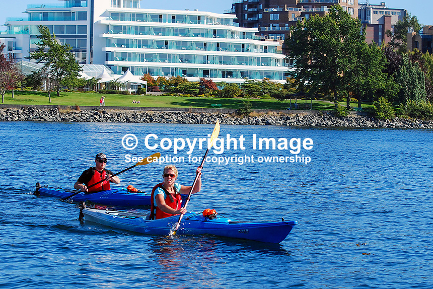 Victoria, British Columbia, Canada, downtown, harbour, flowers, boats, yachts, 200809101315, canoists, canoing, kayak, rental, renting..Copyright Image from Victor Patterson, 54 Dorchester Park, Belfast, N Ireland, BT9 6RJ...Tel: +44 28 9066 1296.Mob: +44 7802 353836.Email: victorpatterson@mac.com..IMPORTANT: Go to www.victorpatterson.com and click on Terms & Conditions