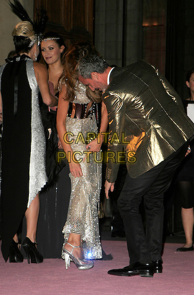 JEMIMA KHAN & PATRICK COX.Attending The Golden Age of Couture VIP Gala held at the Victoria and Albert Museum, Kensington, London, England, September 18th 2007..V&A V & A full length Wasit belt silver sparkly dress Goldsmith showing shoes gold jacket.CAP/AH.©Adam Houghton/Capital Pictures.