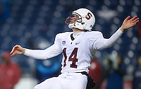 SEATTLE, WA - September 28, 2013: Stanford punter Ben Rhyne punts the ball during play against Washington State at CenturyLink Field. Stanford won 55-17