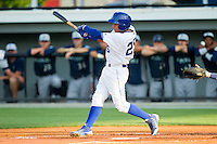 Ramon Torres (25) of the Burlington Royals follows through on his swing against the Pulaski Mariners at Burlington Athletic Park on June20 2013 in Burlington, North Carolina.  The Royals defeated the Mariners 2-1 in 13 innings.  (Brian Westerholt/Four Seam Images)