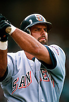 Ken Caminiti of the San Diego Padres during a game at Anaheim Stadium in Anaheim, California during the 1997 season.(Larry Goren/Four Seam Images)