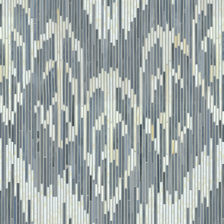 Weft, a hand-cut jewel glass mosaic, shown in Quartz and Pearl, is part of the Ikat Collection by New Ravenna.