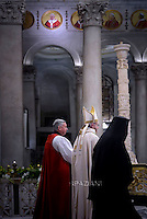 Pope Francis  Ortodox Primate of the Metropolis of Italy Gennadios Zervos, and the representative of the Archbishop of Canterbury to the Holy See David Moxon,Celebration of the second vespers of Saint Paul basilica in Rome. January 25, 2016