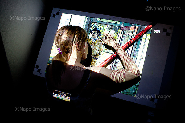 GDANSK, 30/05/2016:<br /> Polish painter Magdalena Piecha is painting in her box at the production venue of &quot;Loving Vincent,&quot; an animated film being made in Poland about Vincent Van Gogh that's using oil-painted cels. At the moment she is painting a character played by actor Douglas Booth playing Armand Roulin. Each finished cel is photographed on the spot and transferred to computer's memory.<br /> (Photo by Piotr Malecki / Napo Images)<br /> <br />  <br /> ####<br /> GDANSK, 30/05/2016:<br /> Produkcja filmu &quot;Twoj Vincent&quot; - pierwszego w historii filmu animowanego skladajacego sie w calosci z klatek osobno malowanych na plotnie przez dziesiatki zatrudnionych w tym celu malarzy z calego swiata.<br /> (Fot: Piotr Malecki dla NYT / Napo Images /  Napo Images) <br /> <br /> 	<br /> ### Zakaz publikacji w negatywnym kontekscie. Cena minimalna: 100 PLN ### Zakaz publikacji w Gazecie Polskiej ###