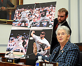 "Washington, DC - February 13, 2008 -- United States Representative Virginia Foxx (Republican of North Carolina) displays a poster of photos of Roger former New York Yankees pitcher Roger Clemens in various stages of his Major League Baseball career as he testified before the United States House of Representatives Committee on Government Operations and Reform hearing on ""The Mitchell Report: The Illegal use of Steroids in Major League Baseball, Day 2""  concerning alleged use of steroids and human growth hormone (HGH) by Clemens and several other major league players in Washington, D.C. on Wednesday, February 13, 2008.  Rep. Foxx was using the photos to show his build was the same for all of those years and did not lead her to believe he had ever used steroids. .Credit: Ron Sachs / CNP.(RESTRICTION: NO New York or New Jersey Newspapers or newspapers within a 75 mile radius of New York City)"