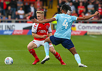Fleetwood Town's Kyle Dempsey takes on Accrington Stanley's Michael Ihiekwe<br /> <br /> Photographer Alex Dodd/CameraSport<br /> <br /> The EFL Sky Bet League One - Fleetwood Town v Accrington Stanley - Saturday 15th September 2018  - Highbury Stadium - Fleetwood<br /> <br /> World Copyright &copy; 2018 CameraSport. All rights reserved. 43 Linden Ave. Countesthorpe. Leicester. England. LE8 5PG - Tel: +44 (0) 116 277 4147 - admin@camerasport.com - www.camerasport.com