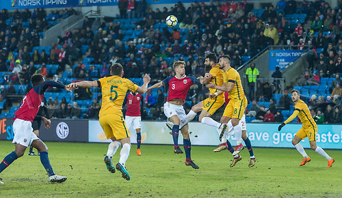 23rd March 2018, Ullevaal Stadion, Oslo, Norway; International Football Friendly, Norway versus Australia; Kristeroffer Vassbakk Ajer of Norway battles with Michael Jedinak of Australia for the header