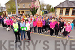 Volunteers  Jack Shanahan, Liz Galway, Catherine Horan with the Large turnout for the Scoil Aogain Castleisland Good Friday Hospice Walk