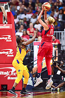 Washington, DC - August 17, 2018: Washington Mystics guard Elena Delle Donne (11) hits a fade away jump shot over Los Angeles Sparks guard Chelsea Gray (12) during game between the Washington Mystics and Los Angeles Sparks at the Capital One Arena in Washington, DC. (Photo by Phil Peters/Media Images International)