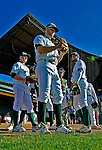 8 July 2012: The Vermont Lake Monsters wait to take the field prior to a game against the State College Spikes at Centennial Field in Burlington, Vermont. The Lake Monsters rallied from a 2-0 late inning deficit, to defeat the Spikes 8-2 in NY Penn League action. Mandatory Credit: Ed Wolfstein Photo