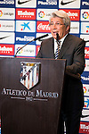 President of Atletico de Madrid, Enrique Cerezo during the presentation of the new Atletico de Madrid's football player, Nico Gaitan for the next season 2016-2017 at Vicente Calderon Stadium in Madrid. July 19, Spain. 2016. (ALTERPHOTOS/BorjaB.Hojas)