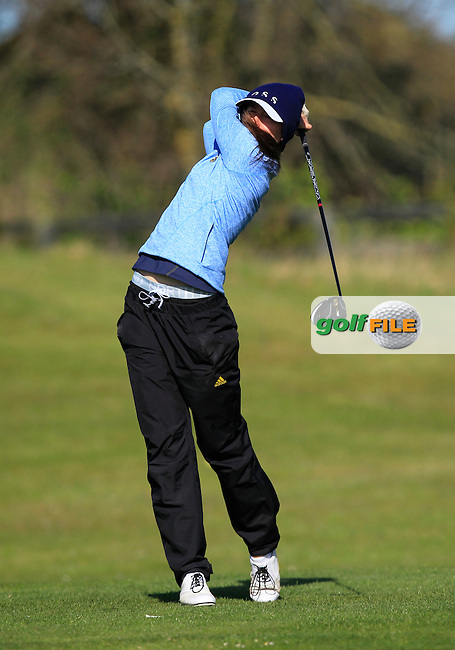 Sofia Lundell (SWE) on the 1st tee during Round 3 of the Irish Girl's Open Stroke Play Championship at Roganstown Golf &amp; Country Club on Sunday 17th April 2016.<br /> Picture:  Thos Caffrey / www.golffile.ie