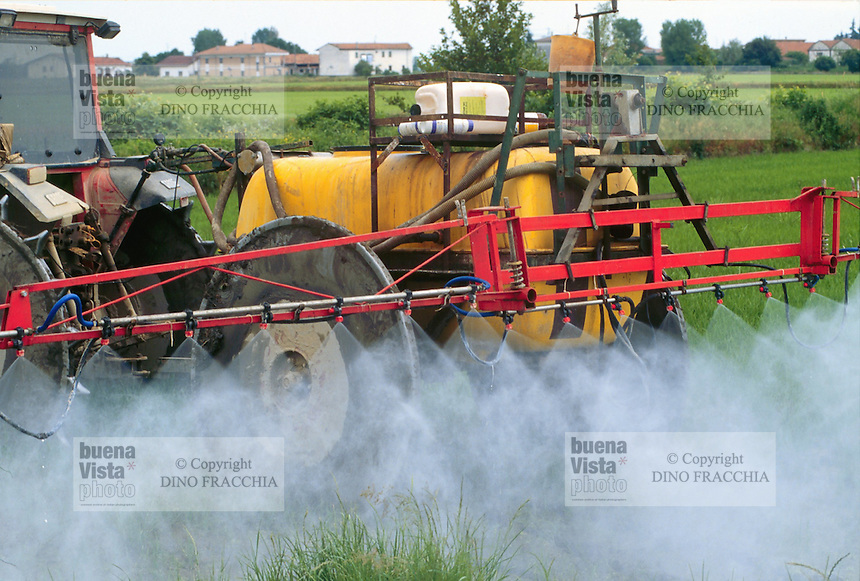 - cultivation of the rice in province of Novara, chemical herbicide distribution ....- coltivazione del riso in provincia di Novara, distribuzione del diserbante chimico