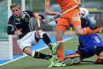 GER - Mannheim, Germany, May 16: During the whitsun tournament boys hockey match between Germany (black) and The Netherlands (orange) on May 16, 2016 at Mannheimer HC in Mannheim, Germany. Final score 4-3 (HT 2-0). (Photo by Dirk Markgraf / www.265-images.com) *** Local caption *** Hannes Mueller #3 of Germany (U16), Simon Dalderop #20 of The Netherlands, Flip Wijsman (GK) #1 of The Netherlands