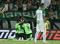 MEDELLÍN -COLOMBIA - 18-06-2017: Jefferson Duque (#9) del Deportivo Cali  celebra un gol anotado a Atlético Nacional durante partido de vuelta por la final de la Liga Águila I 2017 jugado en el estadio Atanasio Girardot de la ciudad de Medellín. / Jefferson Duque (#9) Player of Deportivo Cali celebrates a goal scored to Atletico Nacional during second leg match for the final of the Aguila League I 2017 at Atanasio Girardot stadium in Medellin city. Photo: VizzorImage/ Gabriel Aponte / Staff