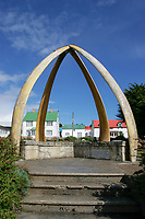 Lower jawbones of a blue whale line a park, Balaenoptera musculus, in Port Stanley, Falkland Islands, British Overseas Territories, United Kingdom, South Atlantic