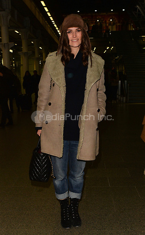 Keira Knightley is spotted arriving at London's St. Pancras International station after taking the Eurostar from Paris<br />