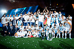 Real Madrid Soccer Team with Champions League Trophe and Real Madrid Basketball Team with Euroleague Trophe pose to the mediaat Santiago Bernabeu Stadium in Madrid, Spain. May 27, 2018. (ALTERPHOTOS/Borja B.Hojas)