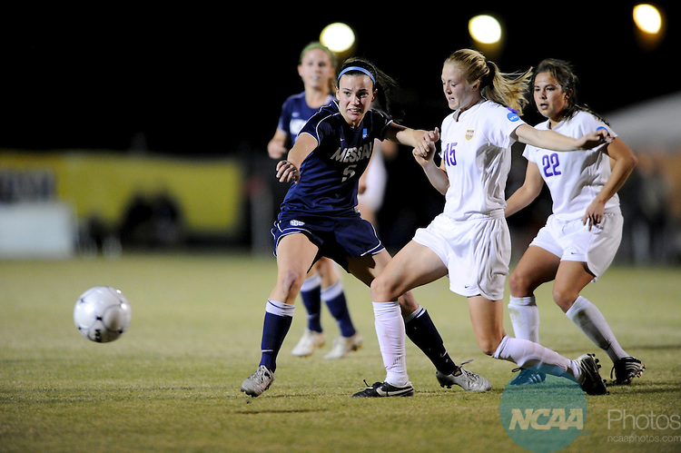 04 DEC 2010: Brittany Vacca (15) of Hardin-Simmons University battles Lisa Wingard (5) of Messiah College during the Division III Women's Soccer Championship held at Blossom Soccer Stadium hosted by Trinity University in San Antonio, TX. Hardin-Simmons defeated Messiah 2-1 to win the national title. Brett Wilhelm/NCAA Photos