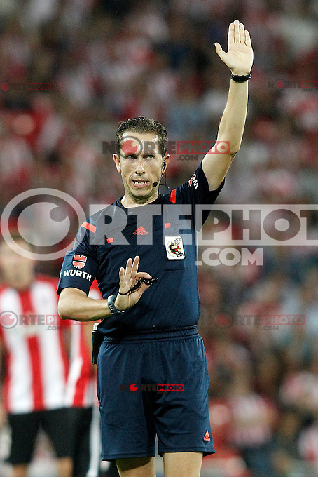Spanish referee Gonzalez Gonzalez during Supercup of Spain 1st match.August 14,2015. (ALTERPHOTOS/Acero)