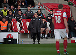 Fleetwood Town 1 Wrexham 1, 10/04/2012. Highbury Stadium, Football Conference Premier. Home manager Micky Mellon watching the action as Fleetwood Town (in red) host Wrexham in a Blue Square Conference Premier match at Highbury Stadium. The match, between the top two teams in the division ended in a 1-1 draw watched by a near-capacity crowd of 4996. A victory for the hosts would have seen the club promoted to the Football League for the first time. Photo by Colin McPherson.