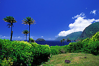 The Kalawao district, on the Kalaupapa peninsula, with Mokapu Island (aka Sweetbread Rock) in the background
