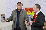 © Joel Goodman - 07973 332324 . . 07/02/2014 .  Manchester , UK . DAVID NEILSON (l) , who plays Roy Cropper in Coronation Street , meets Labour candidate Mike Kane (r) on the campaign trail at the Labour Party Campaign HQ at the Wythenshawe and Sale East by-election . Photo credit : Joel Goodman