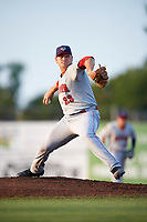 Auburn Doubledays starting pitcher Wil Crowe (23) delivers a pitch during a game against the Batavia Muckdogs on August 26, 2017 at Dwyer Stadium in Batavia, New York.  Batavia defeated Auburn 5-4.  (Mike Janes/Four Seam Images)