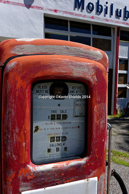 Old gas pump, Liberty, Maine, USA