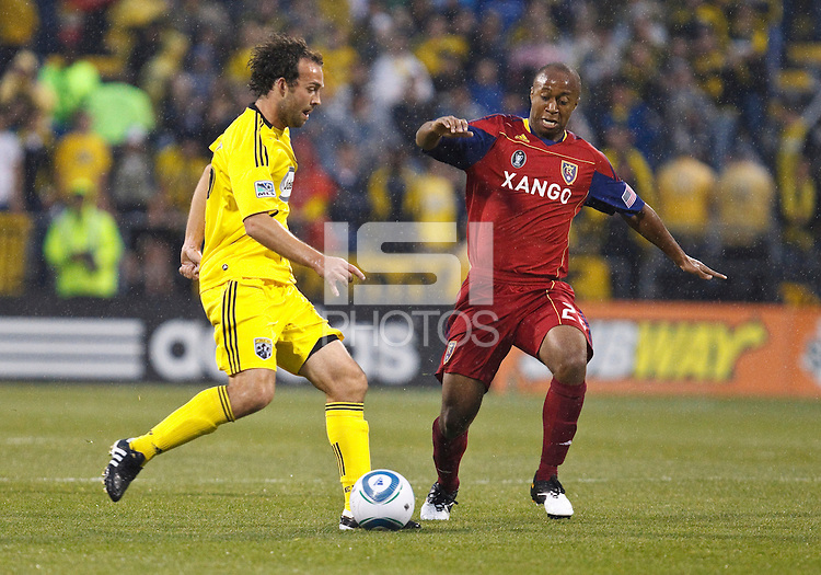 24 APRIL 2010:  Adam Moffat, Collen Warner during the Real Salt Lake at Columbus Crew MLS soccer game in Columbus, Ohio. Columbus Crew defeated RSL 1-0 on April 24, 2010.